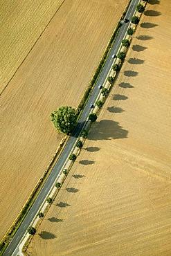 Aerial photograph of the highway between Duesseldorf and Heiligenhaus, Nordrhein-Westfalen, Germany, Europe