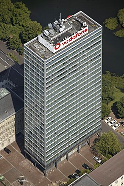 Aerial photograph of an office building, Vodafone headquarters, Duesseldorf, Nordrhein-Westfalen, Germany, Europe
