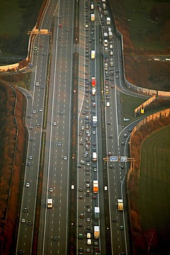 Aerial view, traffic jam on Autobahn A2, Dortmund, Ruhr Area, North Rhine-Westphalia, Germany, Europe