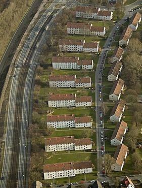 Aerial view, Huckarde apartments, Huckarder Street, Walkmuehlenweg, Dortmund, Ruhr Area, North Rhine-Westphalia, Germany, Europe