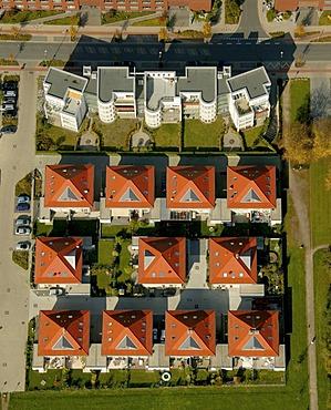 Aerial photograph, Stadtkrone Ost, housing estate, Stockholmer Allee, Dortmund, Ruhr district, North Rhine-Westphalia, Germany, Europe