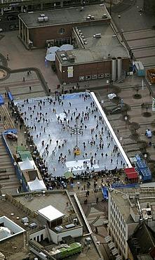 Aerial picture, ice-rink on Kennedy-Platz Square, Essen, Ruhr area, North Rhine-Westphalia, Germany, Europe