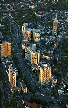 Aerial picture, multi-storey building center RAG and RWE, Evonik, Essen, Ruhr area, North Rhine-Westphalia, Germany, Europe