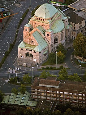 Aerial picture, synagogue in the city center, memorial, Essen, Ruhr area, North Rhine-Westphalia, Germany, Europe