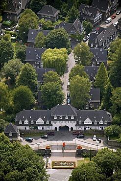 Aerial picture, Krupp estate, Margarethenthor, Marktplatz Square, Margarethenhoehe, Sommerberg, Essen, Ruhr area, North Rhine-Westphalia, Germany, Europe
