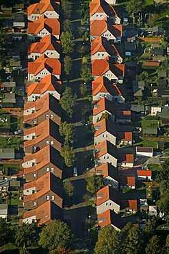 Aerial picture, miners estate Boshammer Weg in Karnap, Essen, Ruhr area, North Rhine-Westphalia, Germany, Europe