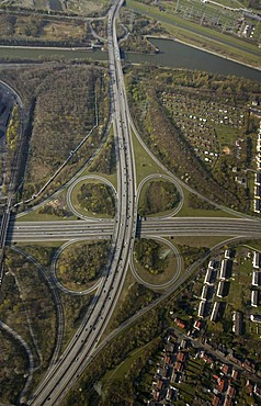 Aerial picture, motorway intersection, A42 and B224 Gladbecker Street, Altenessen, Essen, Ruhr area, North-Rhine Westphalia, Germany, Europe