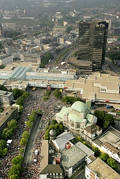 Aerial picture, love parade, town hall, synagogue, Essen, Ruhr area, North Rhine-Westphalia, Germany, Europe