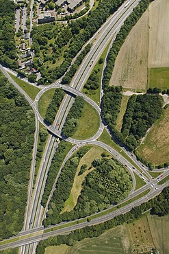 Aerial photo, Buer, roundabout Vinckestrasse A52 B224, Gelsenkirchen, Ruhr area, North Rhine-Westphalia, Germany, Europe