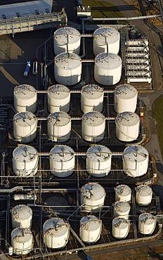 Aerial image, tank farm, industrial and trade harbor Schalke-North, Gelsenkirchen, Ruhr Area, North Rhine-Westphalia, Germany, Europe