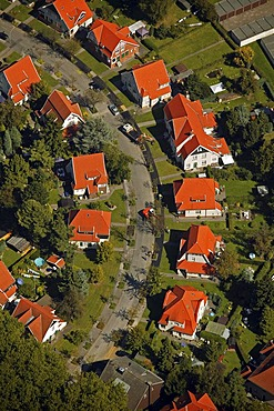 Aerial photograph, Teutoburgia Zechensiedlung, colliery housing estate, red roofs, Boernig, Herne, Ruhr Area, Rhineland, North Rhine-Westphalia, Germany, Europe
