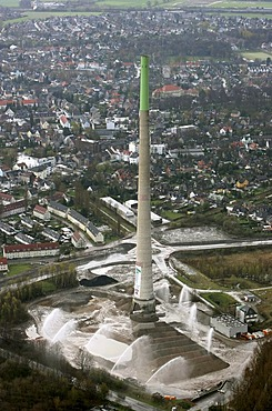 Aerial photo, blowing up a chimney stack, E.ON power station, Castrop-Rauxel, Ruhr area, North Rhine-Westphalia, Germany, Europe