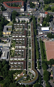 Aerial photo, CEAG estate, IBA, residential block, Muensterstrasse, Bornstrasse, Dortmund, Ruhr area, North Rhine-Westphalia
