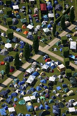 Aerial view, tents, crossing footpaths, Rock Hard Festival, Nordsternpark, Gelsenkirchen, Ruhr Area, North Rhine-Westphalia, Germany, Europe