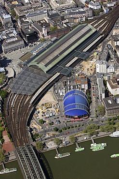 Aerial view, Cologne Central Station, Musicaldom, River Rhine, Cologne, Rhineland, North Rhine-Westphalia, Germany, Europe