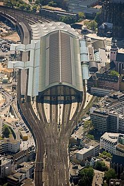 Aerial view, Central Station, Cologne, Rhineland, North Rhine-Westphalia, Germany, Europe