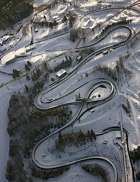 Aerial view, bobsled run, Winterberg, Sauerland, North Rhine-Westphalia, Germany, Europe