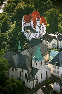 Aerial photograph, Pius Church and former Kurhotel, Wedinghausen Abbey, Arnsberg, Sauerland, North Rhine-Westphalia, Germany, Europe