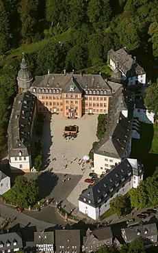 Aerial photograph, Berleburg Castle, Bad Berleburg, Siegen-Wittgenstein district, Sauerland, North Rhine-Westphalia, Germany, Europe