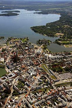 Areal view, Schwerin, Mecklenburg Lake District, Mecklenburg-Western Pomerania, Germany, Europe