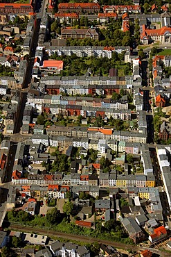 Aerial view, apartment buildings, perimeter block development, Schwerin, Mecklenburg-Western Pomerania, Germany, Europe