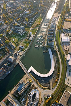 Aerial picture, inland port, Holzhafen Harbour, Duisburg, Ruhr area, North Rhine-Westphalia, Germany, Europe