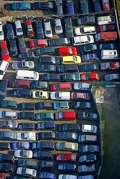 Aerial photo, industrial area Gerthe Nord, junk yard, car dealership, Bochum, Ruhr district, North Rhine-Westphalia, Germany, Europe