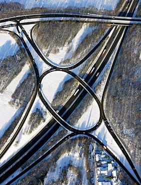 Aerial photo, federal highway B224, junction Gelsenkirchen-Buer-West Nordring, snow, Gelsenkirchen-Buer, Gelsenkirchen, Ruhr Area, North Rhine-Westphalia, Germany, Europe
