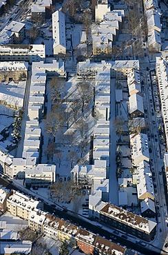 Aerial photo, Vittinghof-Siedlung residential area, Bauhaus houses, Gelsenkirchen, Ruhr Area, North Rhine-Westphalia, Germany, Europe