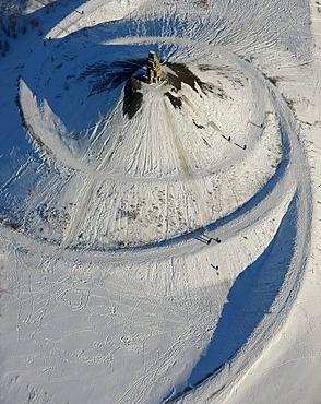 Stuck pile, snow, Himmelstreppe, sky stairs, Himmelsleiter, sky ladder, by Hermann Prigann, Halde Rhein-Elbe, Gelsenkirchen, Ruhr Area, North Rhine-Westphalia, Germany, Europe