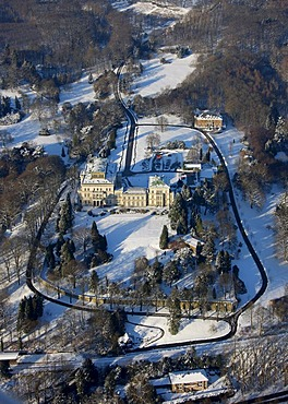 Aerial photo, Villa Huegel, Bertholt Beitz, snow, Essen, Ruhrgebiet, North Rhine-Westphalia, Germany,