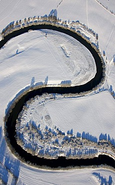Aerial photo, Lippe river sinuosity near Flaesheim, snow, Haltern, Ruhr Area, North Rhine-Westphalia, Germany, Europe