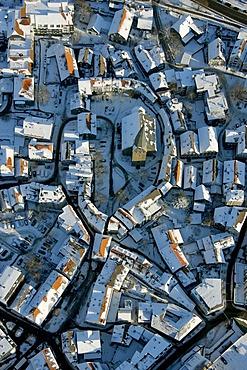 Aerial picture, Altstadtkirche Church, historic centre of Hattingen, Ruhr area, North Rhine-Westphalia, Germany, Europe