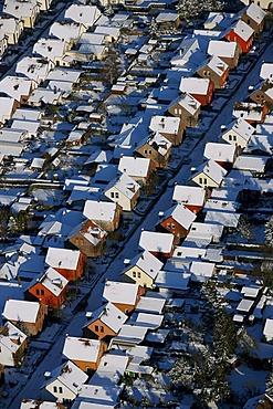 Aerial photo, Mausegattstrasse street, residential area, originally built for mine workers, Muelheim, Ruhr Area, North Rhine-Westphalia, Germany, Europe