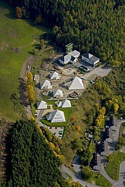 Aerial photo, 5 pyramids, Ragonex company, shaft tower, mining museum, Meggen, Lennestadt, Sauerland, North Rhine-Westphalia, Germany, Europe