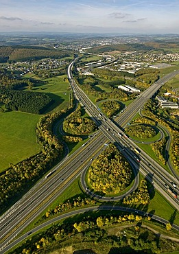 Aerial photo, autobahn motorway junction Olpe Sued, Wenden, Olpe, Sauerland, North Rhine-Westphalia, Germany, Europe