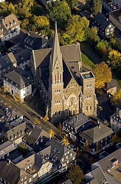 Aerial photo, market square and St. Martinus Church, Olpe, Sauerland, North Rhine-Westphalia, Germany, Europe