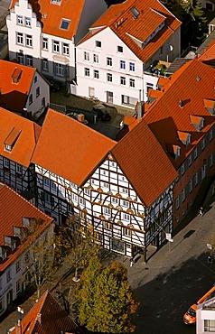 Aerial photo, Haus zur Rose, House of the Rose or Freiligrathhaus, to the left Wilhelm Morgner's birthplace, Soest, Kreis Soest, Soester Boerde, South Westphalia, North Rhine-Westphalia, Germany, Europe