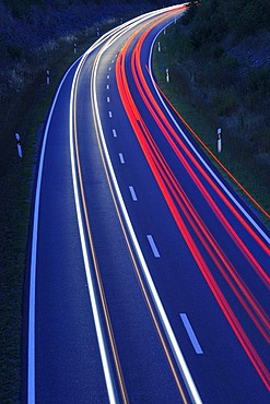 Road with traces of light from cars