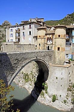 Town gate and bridge, Entrevaux, Alpes-de-Haute-Provence, Provence-Alpes-Cote d'Azur, Southern France, France, Europe, France, Europe