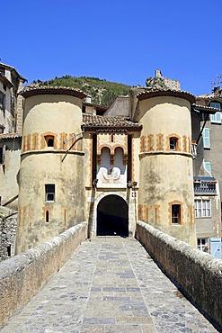 Town gate, Entrevaux, Alpes-de-Haute-Provence, Provence-Alpes-Cote d'Azur, Southern France, France, Europe, France, Europe