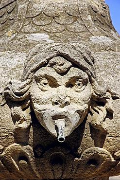 Gargoyle at fountain, Malemort-du-Comtat, Vaucluse, Provence-Alpes-Cote d'Azur, Southern France, France, Europe