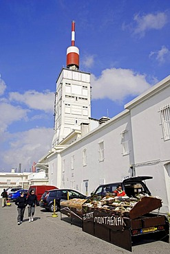 Tower of the weather station and market stall on the peak of Mont Ventoux, Vaucluse, Provence-Alpes-Cote d'Azur, Southern France, Europe