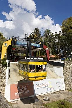 Gondola, Teleferico, highest and longest aerial tramway of the world, at altitude of 4765 m, length of 12.5 km, Merida, Venezuela, South America
