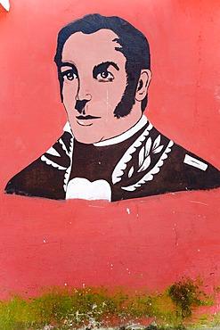 Graffiti of the young Bolivar, Santo Domingo, Venezuela, South America