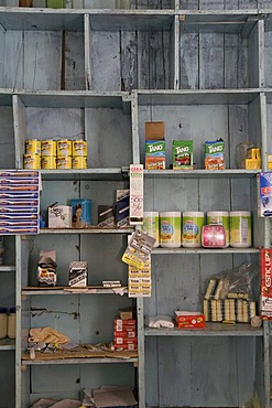 Goods shelf in a small store in the mountain village of San Jose, Andes, Venezuela, South America