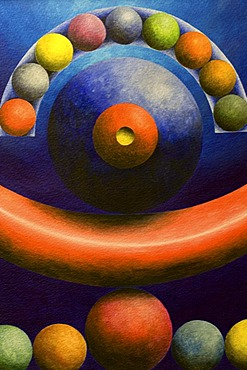 Acrylic painting, theme: order of the planets, by the artist Gerhard Kraus, Kriftel, Germany