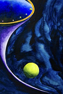Acrylic painting, theme: black hole in the universe, by the artist Gerhard Kraus, Kriftel, Germany