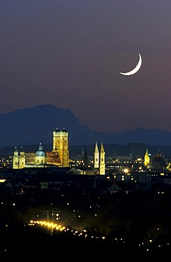 Munich, Frauenkirche Church and Mt Zugspitze, crescent moon, Bavaria, Germany, Europe