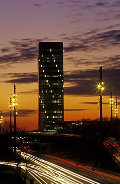 Mittlerer Ring Road and skyscraper, Munich, Bavaria, Germany, Europe